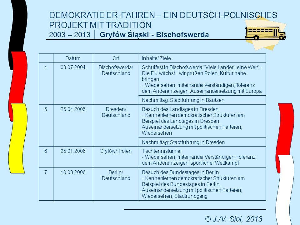 DEMOKRATIE ER-FAHREN – EIN DEUTSCH-POLNISCHES PROJEKT MIT TRADITION 2003 – 2013 Gryfów Śląski - Bischofswerda © J./V.
