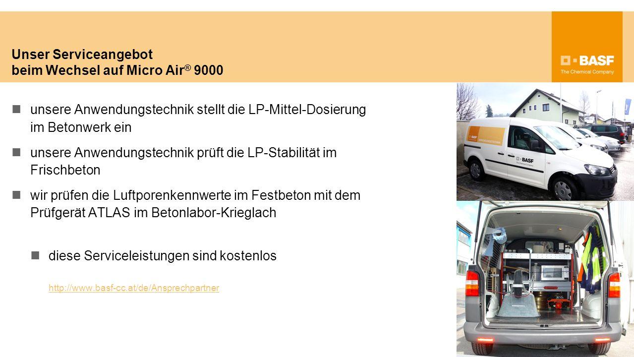 Unser Serviceangebot beim Wechsel auf Micro Air ® 9000 unsere Anwendungstechnik stellt die LP-Mittel-Dosierung im Betonwerk ein unsere Anwendungstechn