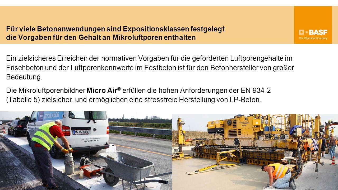 Gutes besser machen… Seit vielen Jahren bewähren sich die Luftporenbildner der Micro Air ® 107- und 301-Reihe bei der zielsicheren Herstellung von LP-Beton.