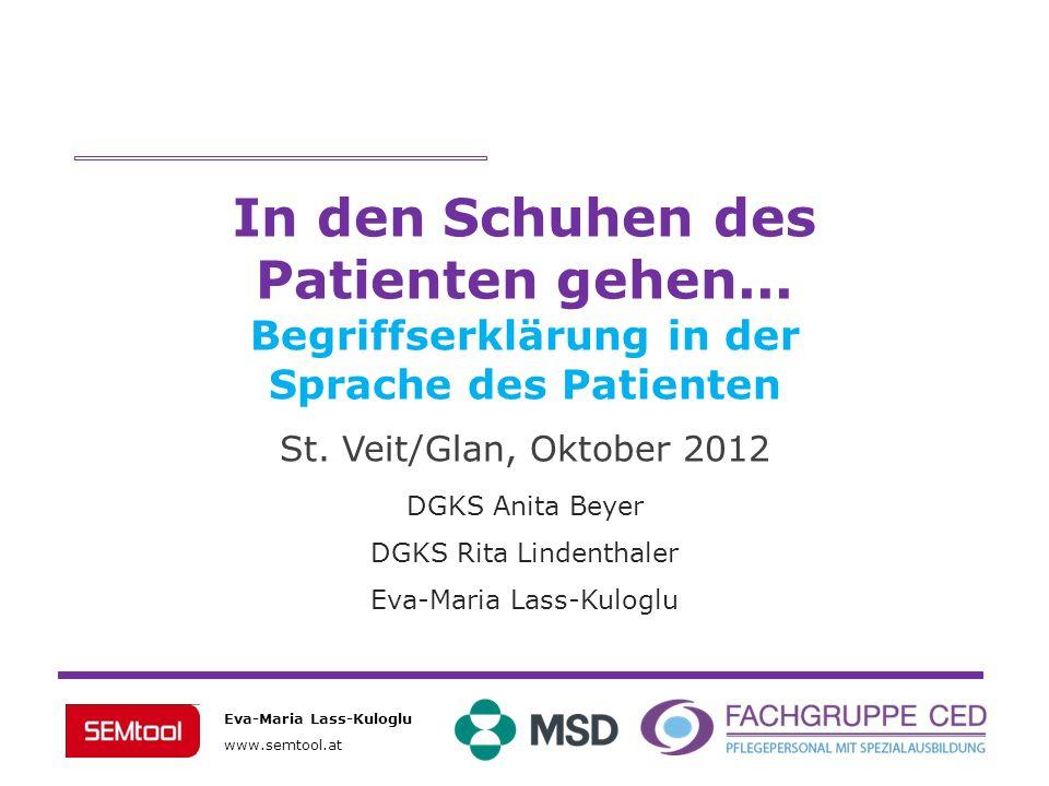 Eva-Maria Lass-Kuloglu www.semtool.at DGKS Anita Beyer DGKS Rita Lindenthaler Eva-Maria Lass-Kuloglu In den Schuhen des Patienten gehen... Begriffserk