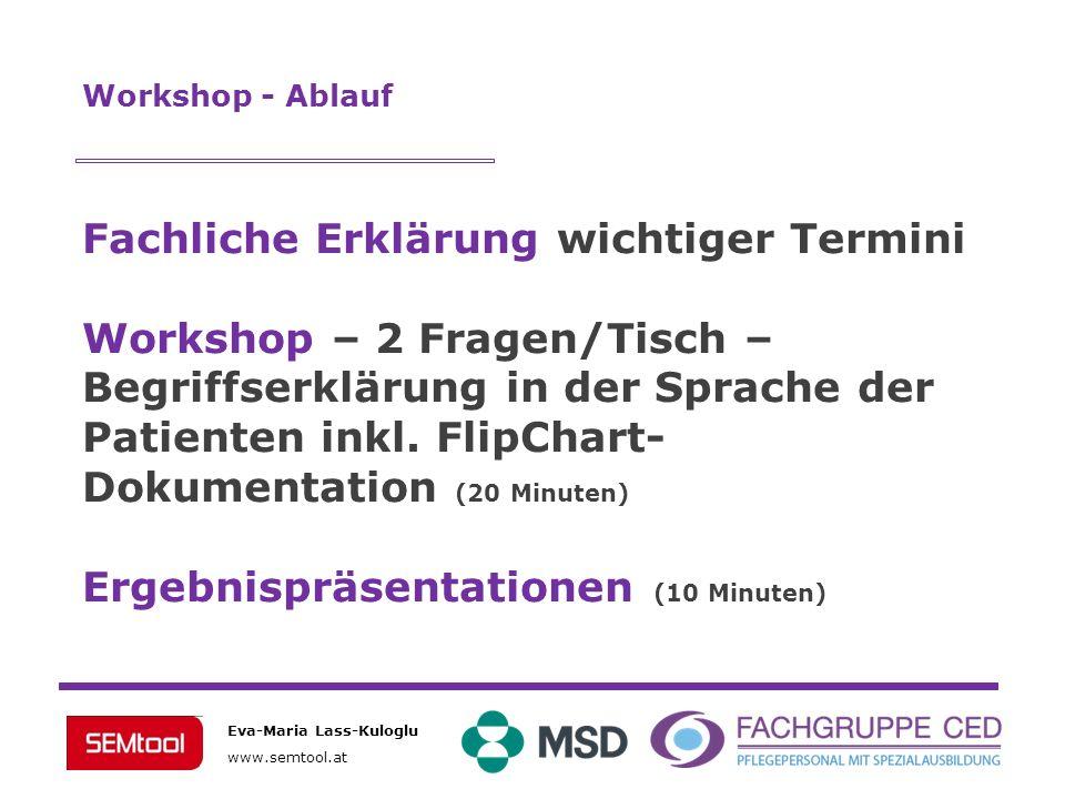 Eva-Maria Lass-Kuloglu www.semtool.at Workshop - Ablauf Fachliche Erklärung wichtiger Termini Workshop – 2 Fragen/Tisch – Begriffserklärung in der Spr