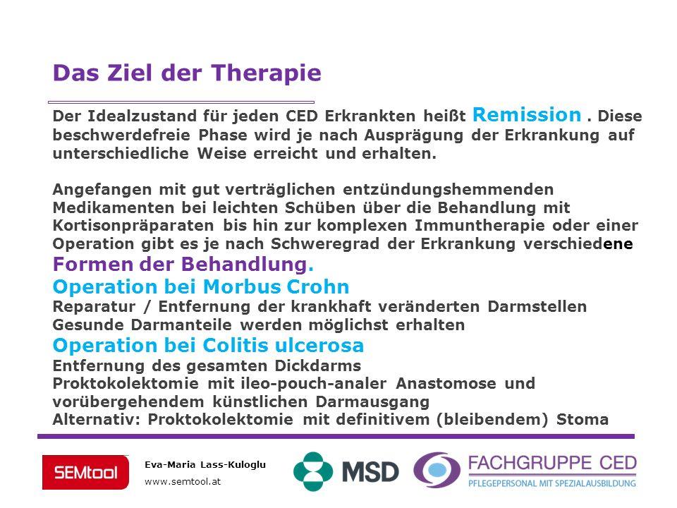 Eva-Maria Lass-Kuloglu www.semtool.at Das Ziel der Therapie Der Idealzustand für jeden CED Erkrankten heißt Remission. Diese beschwerdefreie Phase wir