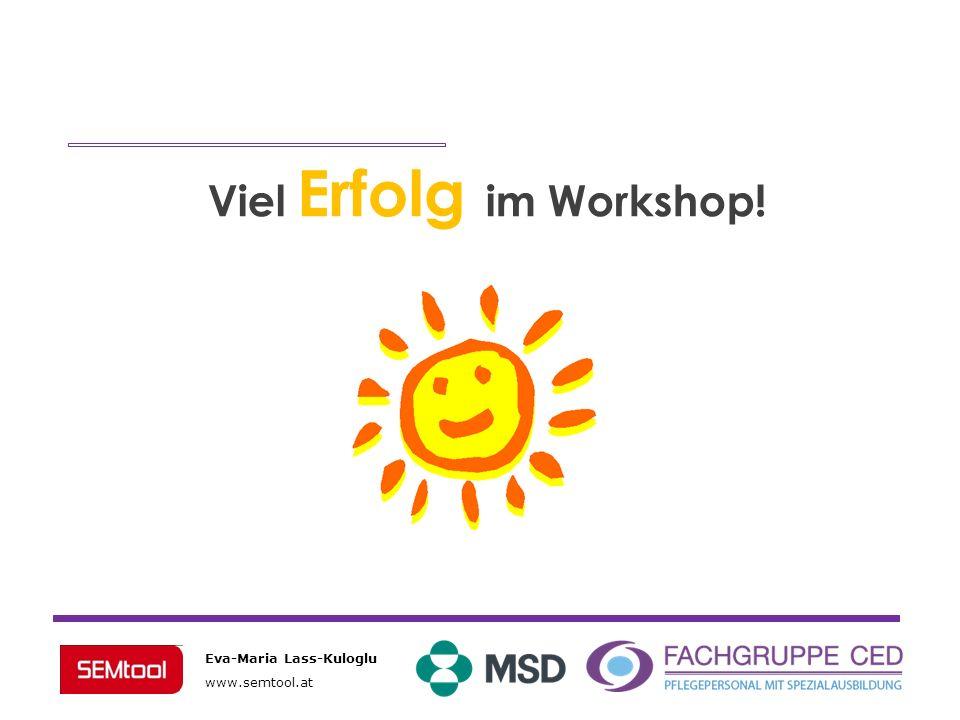 Eva-Maria Lass-Kuloglu www.semtool.at Viel Erfolg im Workshop!