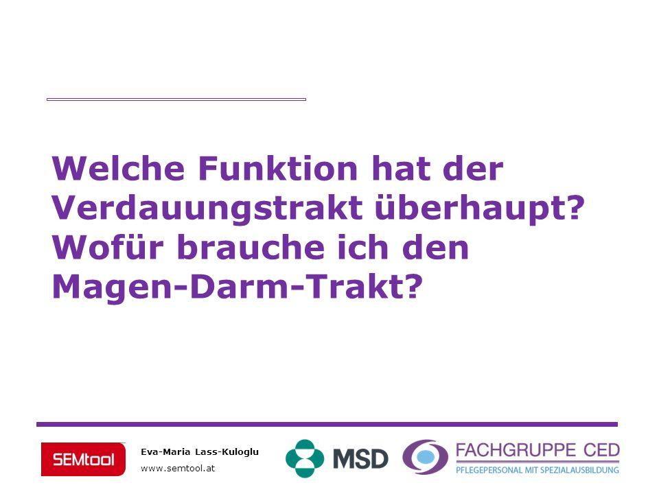 Eva-Maria Lass-Kuloglu www.semtool.at Welche Funktion hat der Verdauungstrakt überhaupt? Wofür brauche ich den Magen-Darm-Trakt?