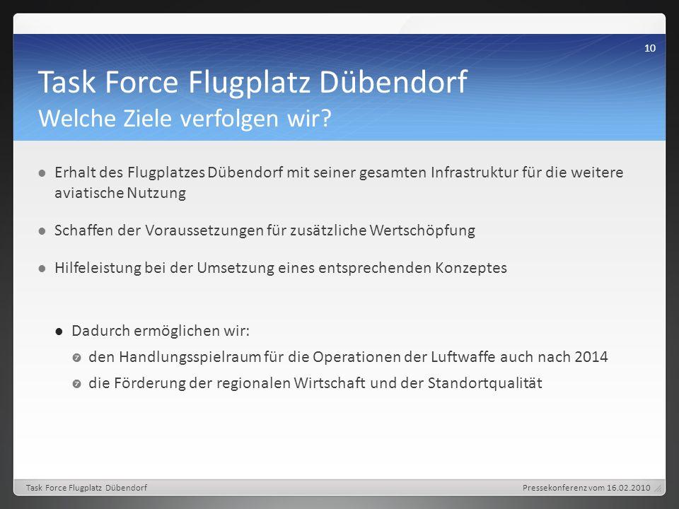 Task Force Flugplatz Dübendorf Welche Ziele verfolgen wir.