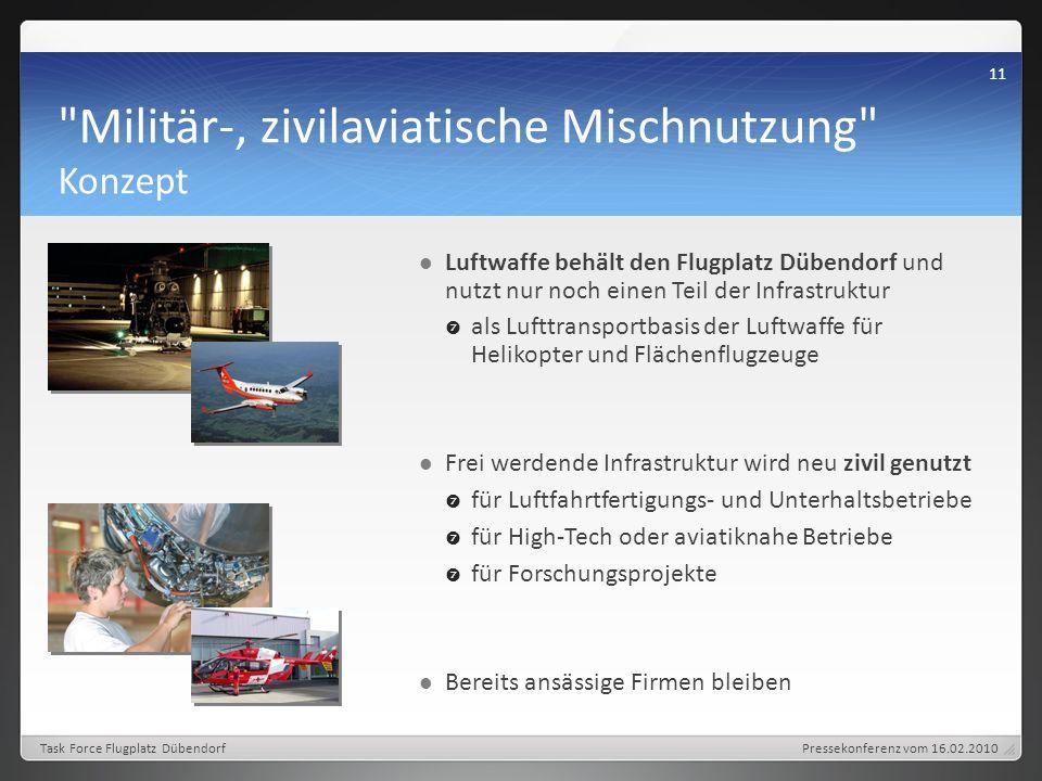 Militär-, zivilaviatische Mischnutzung Konzept Luftwaffe behält den Flugplatz Dübendorf und nutzt nur noch einen Teil der Infrastruktur als Lufttransportbasis der Luftwaffe für Helikopter und Flächenflugzeuge Frei werdende Infrastruktur wird neu zivil genutzt für Luftfahrtfertigungs- und Unterhaltsbetriebe für High-Tech oder aviatiknahe Betriebe für Forschungsprojekte Bereits ansässige Firmen bleiben Pressekonferenz vom 16.02.2010 11 Task Force Flugplatz Dübendorf