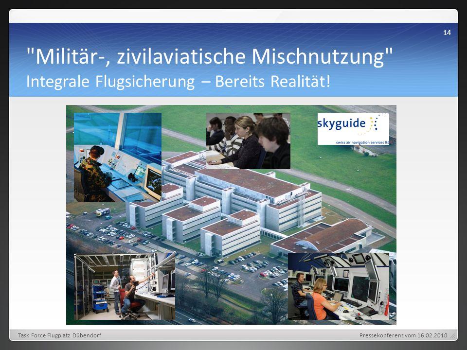 Pressekonferenz vom 16.02.2010 14 Task Force Flugplatz Dübendorf Militär-, zivilaviatische Mischnutzung Integrale Flugsicherung – Bereits Realität!