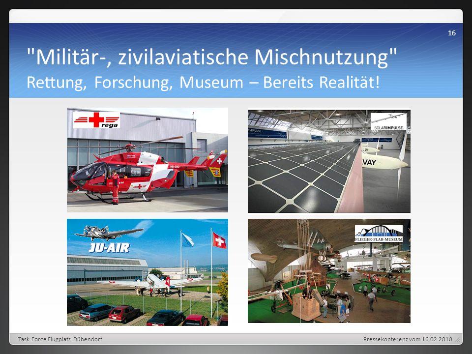 Militär-, zivilaviatische Mischnutzung Rettung, Forschung, Museum – Bereits Realität.