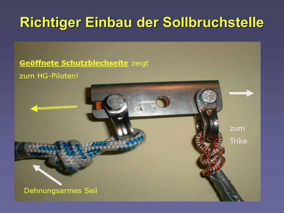 Autor: Horst Barthelmes Richtiger Einbau der Sollbruchstelle Geöffnete Schutzblechseite zeigt zum HG-Piloten! zum Trike Dehnungsarmes Seil