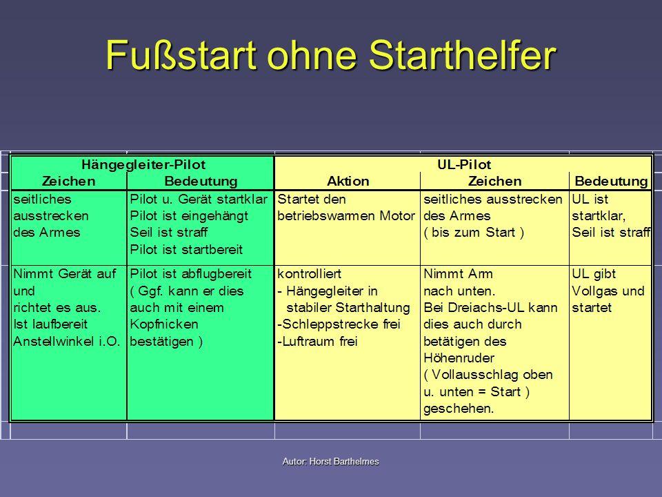 Fußstart ohne Starthelfer Autor: Horst Barthelmes