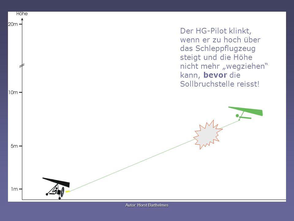 Autor: Horst Barthelmes Der HG-Pilot klinkt, wenn er zu hoch über das Schleppflugzeug steigt und die Höhe nicht mehr wegziehen kann, bevor die Sollbru
