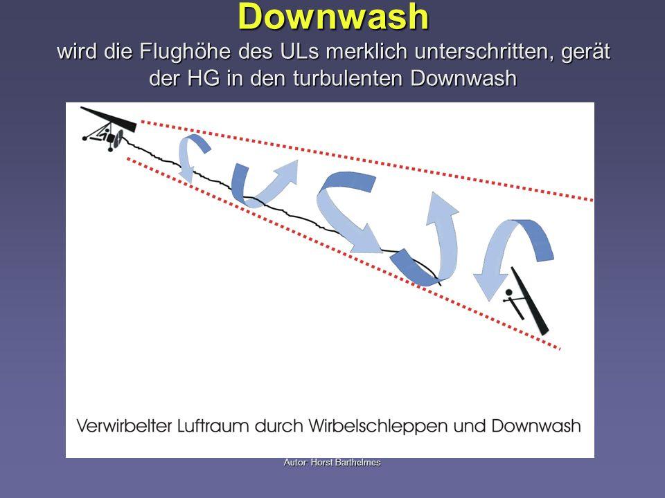 Autor: Horst Barthelmes Downwash wird die Flughöhe des ULs merklich unterschritten, gerät der HG in den turbulenten Downwash