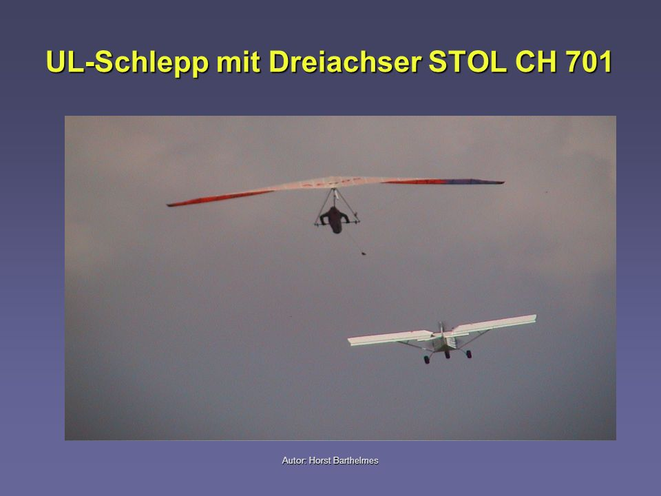 Autor: Horst Barthelmes Allgemeine Informationen Während des UL-Schlepps wird dem geschleppten Hängegleiter Energie in Form von Geschwindigkeit (kinetische Energie) durch das schleppende Ultraleichtflugzeug zugeführt, die in Höhe (potentielle Energie) umgesetzt wird Die nach den Bauvorschriften (LTF) für Ultraleichtflugzeuge geforderten Steigwerte sollten mindestens 1,5 m/s betragen.