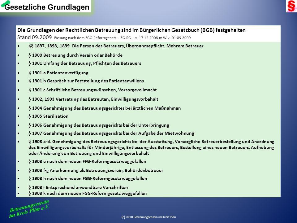 Die Grundlagen der Rechtlichen Betreuung sind im Bürgerlichen Gesetzbuch (BGB) festgehalten: / Stand 09.2009 Fassung nach dem FGG-Reformgesetz – FG-RG