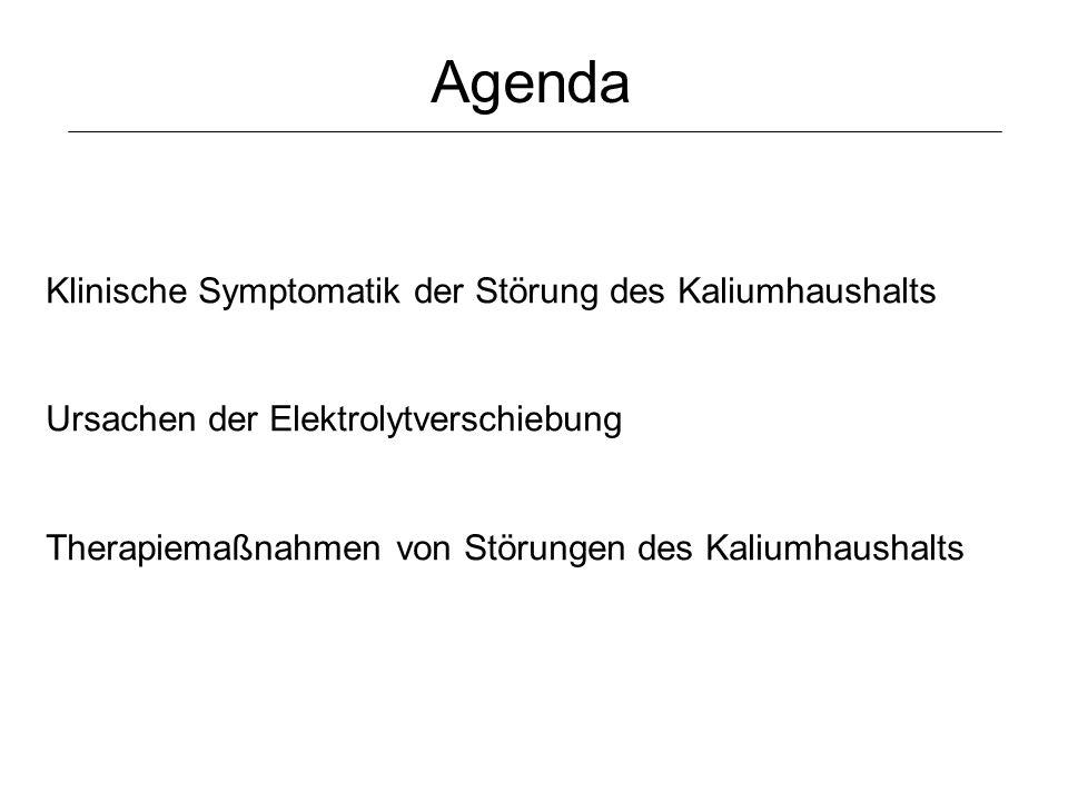 Klinische Symptomatik der Störung des Kaliumhaushalts Ursachen der Elektrolytverschiebung Therapiemaßnahmen von Störungen des Kaliumhaushalts Agenda