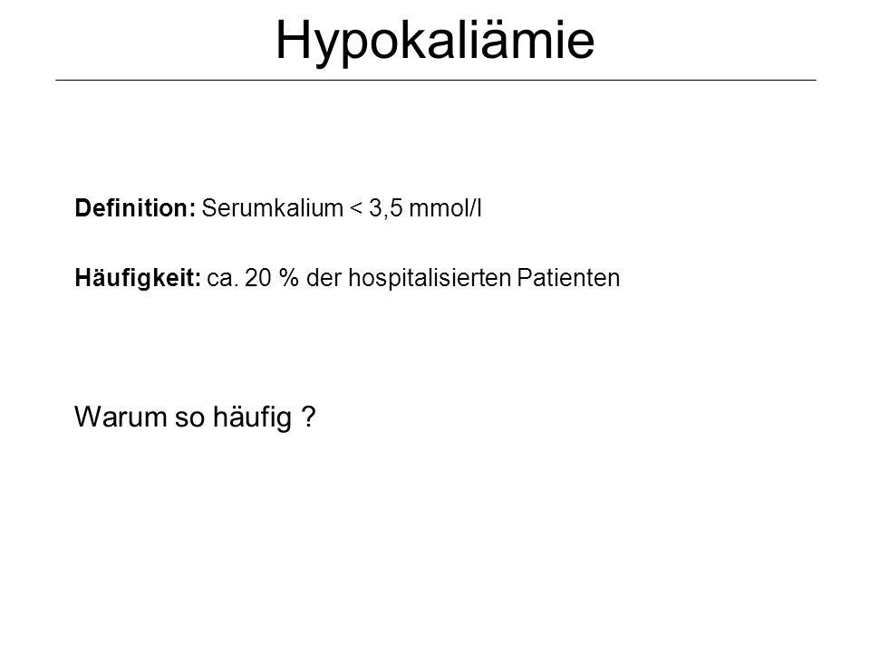 Hypokaliämie Definition: Serumkalium < 3,5 mmol/l Häufigkeit: ca. 20 % der hospitalisierten Patienten Warum so häufig ?