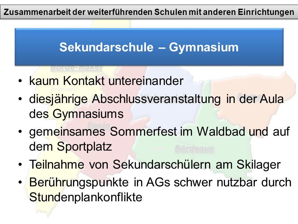 Sekundarschule – Gymnasium kaum Kontakt untereinander diesjährige Abschlussveranstaltung in der Aula des Gymnasiums gemeinsames Sommerfest im Waldbad