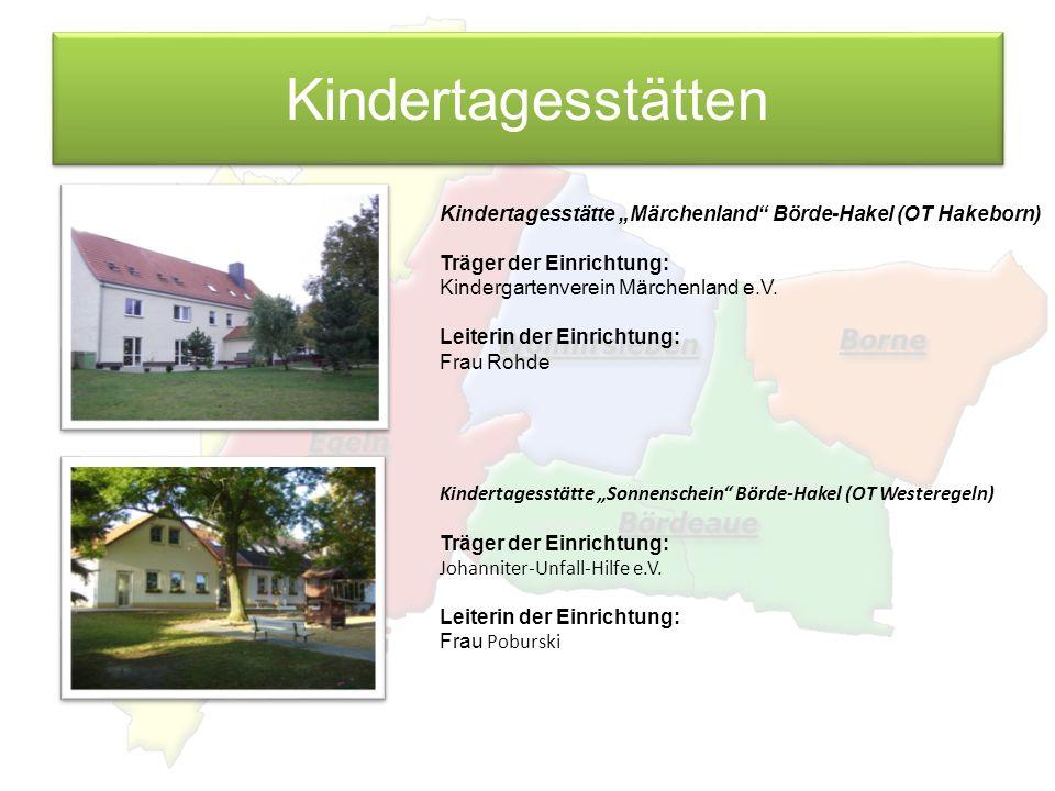 Kindertagesstätten Kindertagesstätte Märchenland Börde-Hakel (OT Hakeborn) Träger der Einrichtung: Kindergartenverein Märchenland e.V. Leiterin der Ei