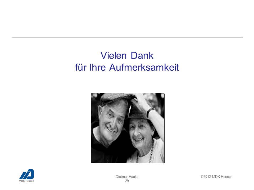Dietmar Haake 29 ©2012 MDK Hessen Vielen Dank für Ihre Aufmerksamkeit