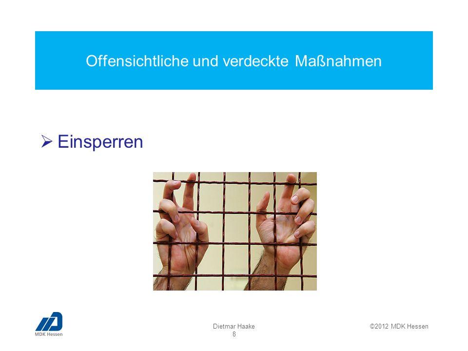 Offensichtliche und verdeckte Maßnahmen Einsperren Dietmar Haake 8 ©2012 MDK Hessen