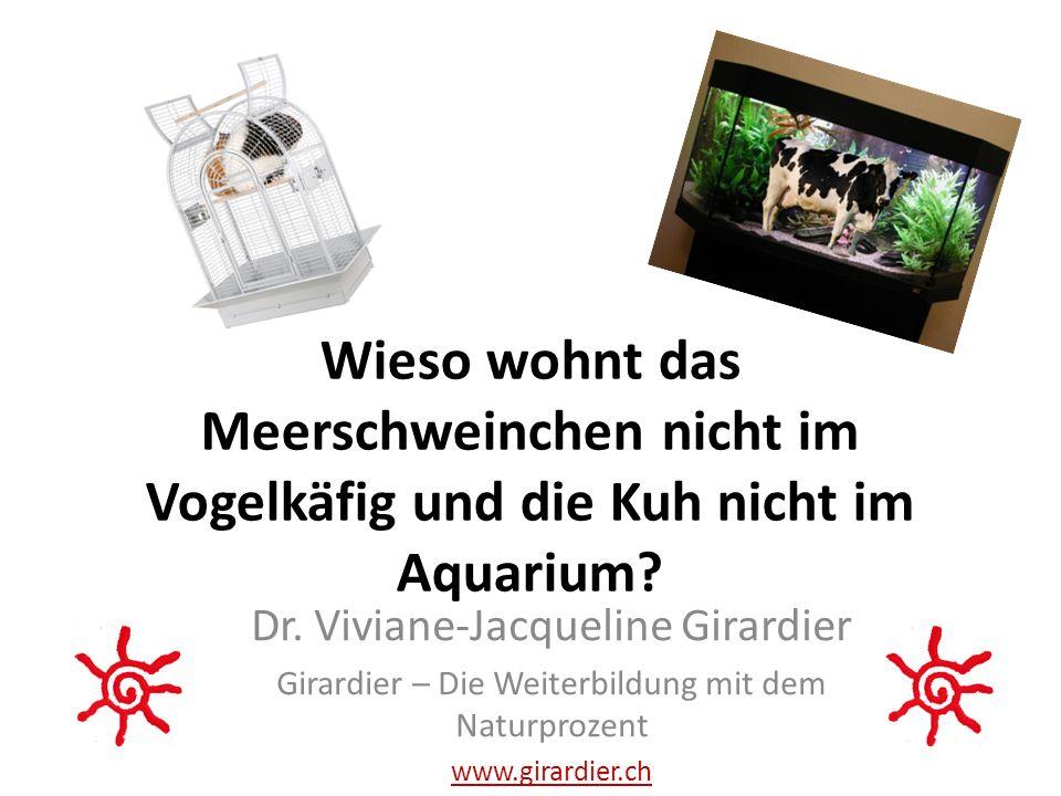 Wieso wohnt das Meerschweinchen nicht im Vogelkäfig und die Kuh nicht im Aquarium.