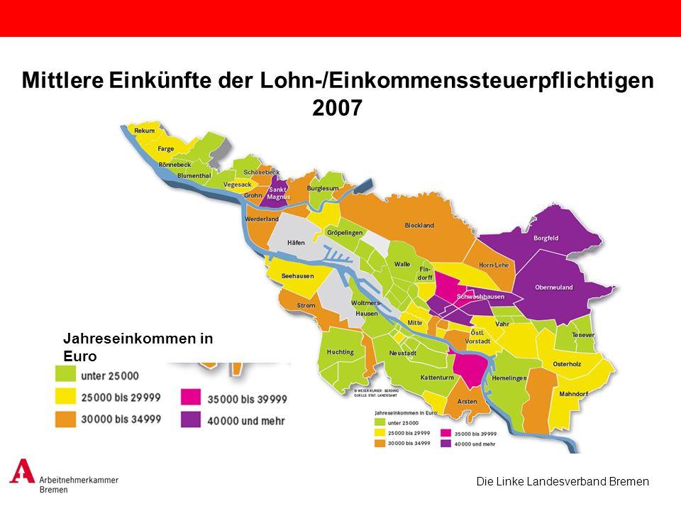 Die Linke Landesverband Bremen Mittlere Einkünfte der Lohn-/Einkommenssteuerpflichtigen 2007 Jahreseinkommen in Euro