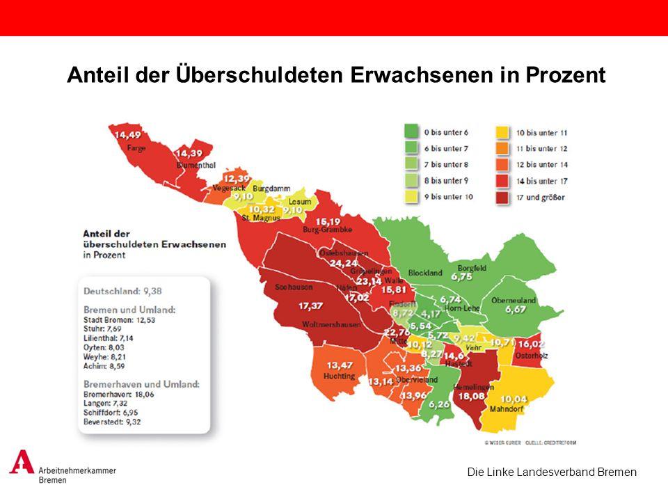 Die Linke Landesverband Bremen Anteil der Überschuldeten Erwachsenen in Prozent