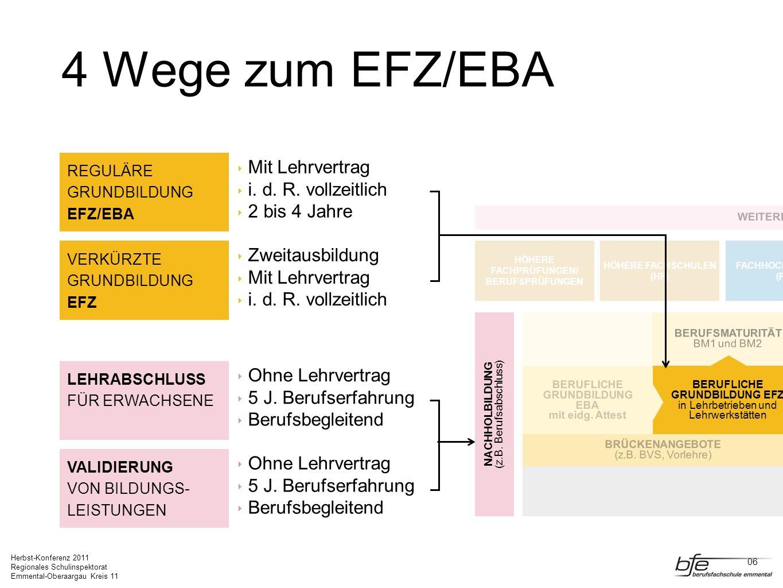 Herbst-Konferenz 2011 Regionales Schulinspektorat Emmental-Oberaargau Kreis 11 4 Wege zum EFZ/EBA LEHRABSCHLUSS FÜR ERWACHSENE Ohne Lehrvertrag 5 J. B