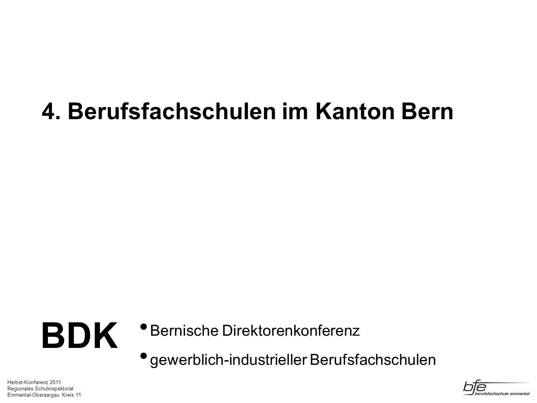 Herbst-Konferenz 2011 Regionales Schulinspektorat Emmental-Oberaargau Kreis 11 4. Berufsfachschulen im Kanton Bern Bernische Direktorenkonferenz gewer