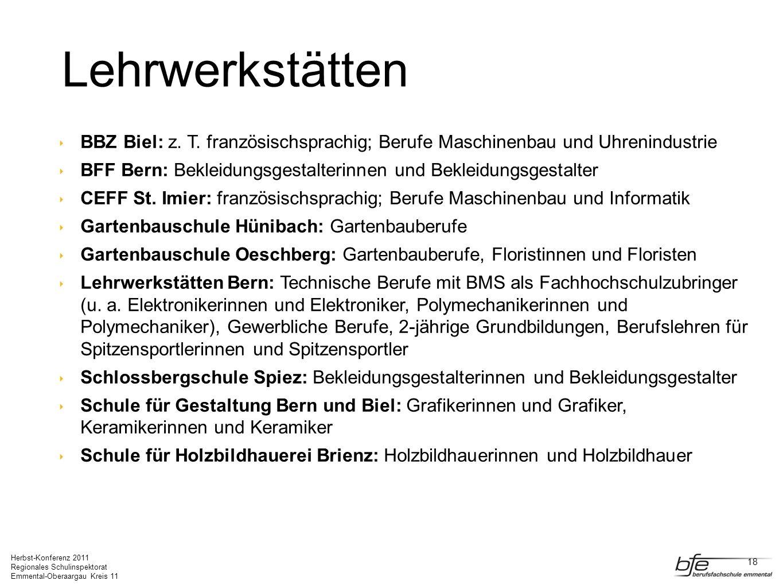Herbst-Konferenz 2011 Regionales Schulinspektorat Emmental-Oberaargau Kreis 11 Lehrwerkstätten BBZ Biel: z. T. französischsprachig; Berufe Maschinenba