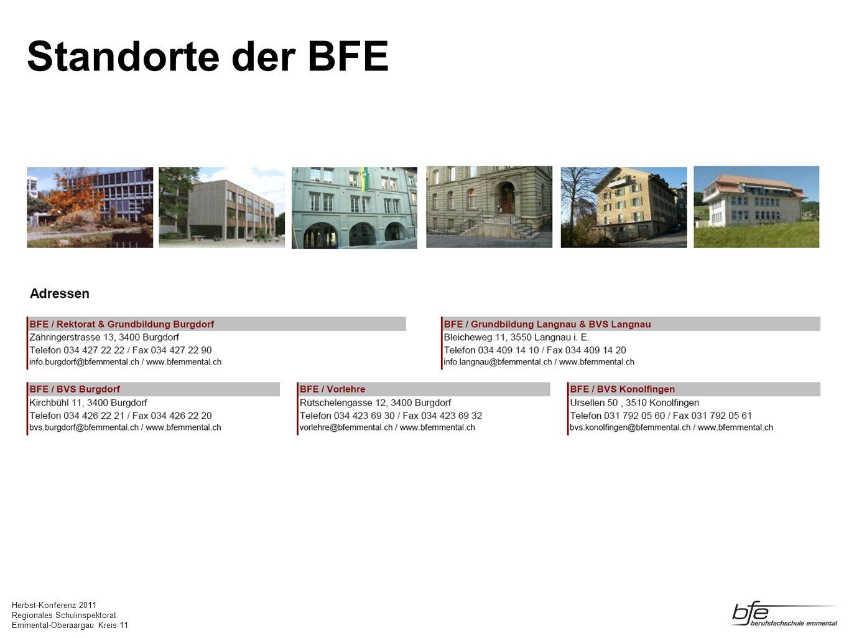Herbst-Konferenz 2011 Regionales Schulinspektorat Emmental-Oberaargau Kreis 11 Standorte der BFE