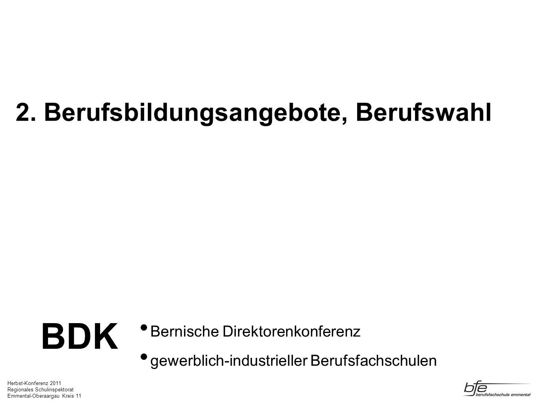 Herbst-Konferenz 2011 Regionales Schulinspektorat Emmental-Oberaargau Kreis 11 Bildungssystematik VOLKSSCHULE FACHMATURITÄT BERUFSMATURITÄT BM1 und BM2 BERUFLICHE GRUNDBILDUNG EFZ in Lehrbetrieben und Lehrwerkstätten BERUFLICHE GRUNDBILDUNG EBA mit eidg.