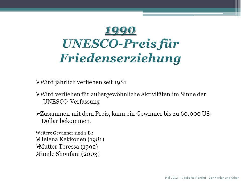 Wird jährlich verliehen seit 1981 Wird verliehen für außergewöhnliche Aktivitäten im Sinne der UNESCO-Verfassung Zusammen mit dem Preis, kann ein Gewinner bis zu 60.000 US- Dollar bekommen.