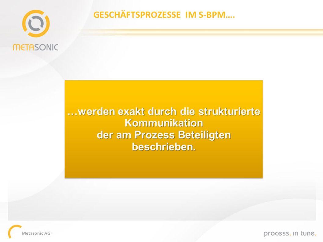 Metasonic AG …werden exakt durch die strukturierte Kommunikation der am Prozess Beteiligten beschrieben. GESCHÄFTSPROZESSE IM S-BPM….