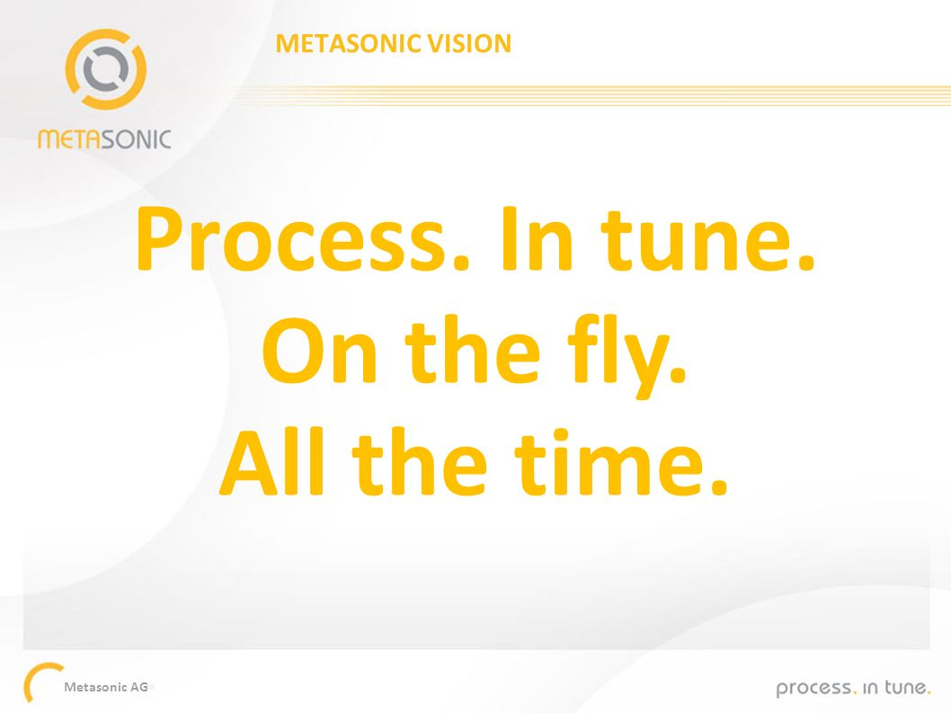 Metasonic AG Process. In tune. On the fly. All the time. METASONIC VISION