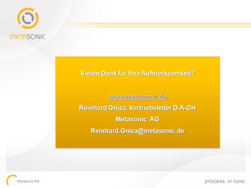 Metasonic AG Vielen Dank für Ihre Aufmerksamkeit ! www.metasonic.de Reinhard Gniza, Vertriebsleiter D-A-CH Metasonic AG Reinhard.Gniza@metasonic.de Vi
