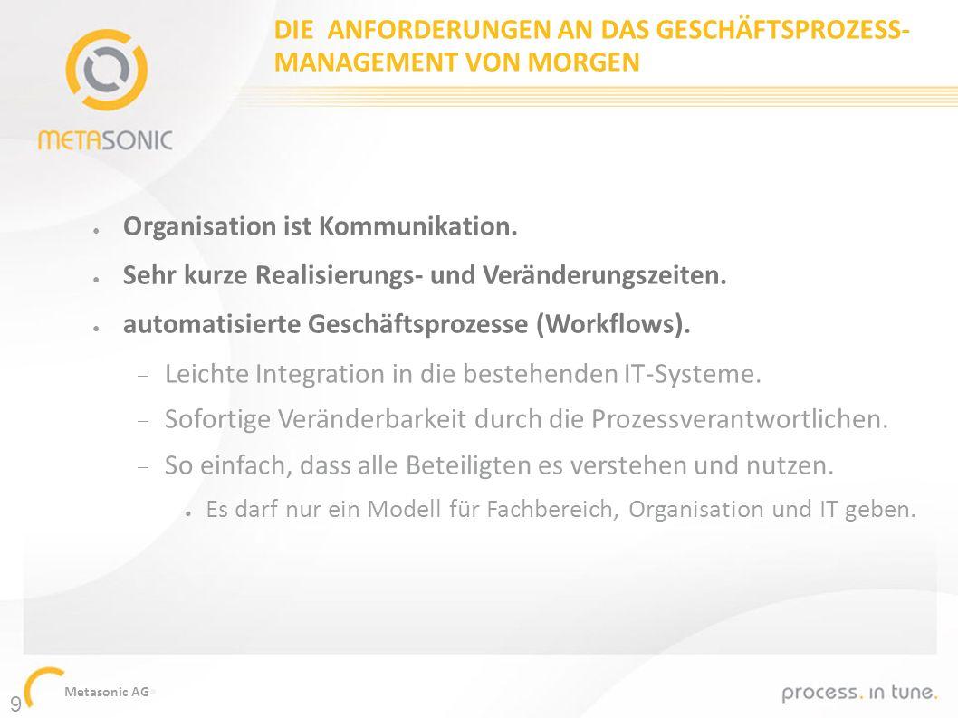 Metasonic AG DIE ANFORDERUNGEN AN DAS GESCHÄFTSPROZESS- MANAGEMENT VON MORGEN Organisation ist Kommunikation. Sehr kurze Realisierungs- und Veränderun