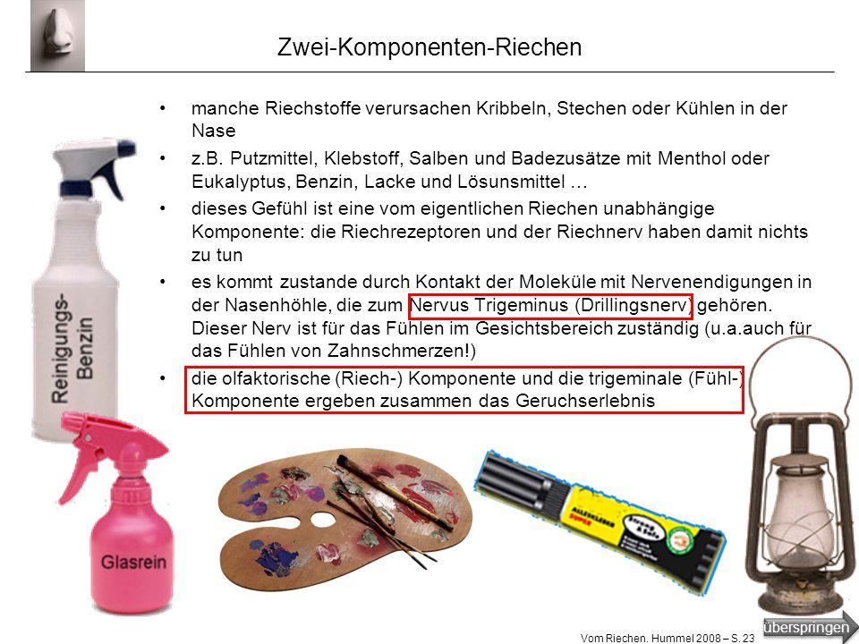 überspringen Vom Riechen. Hummel 2008 – S. 22 Retro-Riechen retro latinisierend für rückwärts, vgl. Retro in Musik, Mode u.a. beim Essen gelangen Riec
