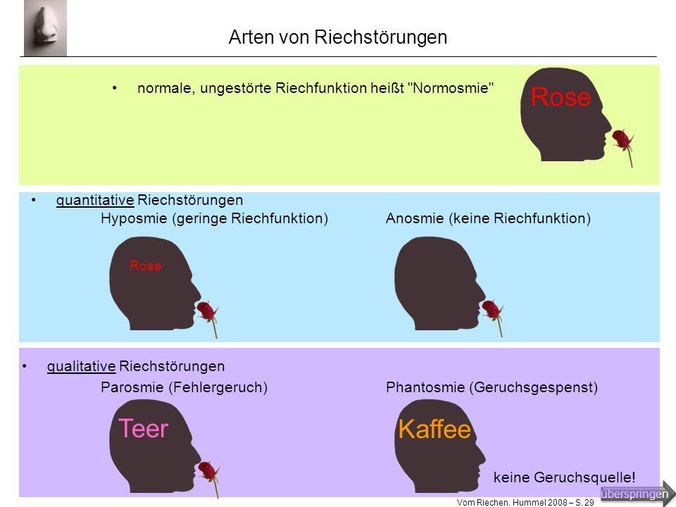 überspringen Vom Riechen. Hummel 2008 – S. 28 Untersuchung des Geruchssinns bei den meisten Riechtests beurteilt die zu untersuchende Person Riechprob
