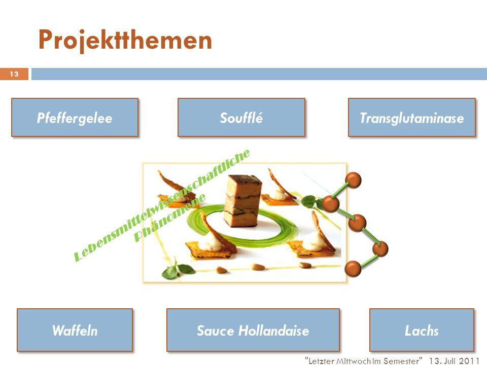 Projektthemen Lachs Waffeln Soufflé Pfeffergelee Sauce Hollandaise Transglutaminase Lebensmittelwissenschaftliche Phänomene 13.