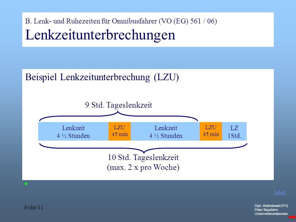 Dipl.-Betriebswirt (FH) Peter Bagdahn Unternehmensberater Folie 11 B. Lenk- und Ruhezeiten für Omnibusfahrer (VO (EG) 561 / 06) Lenkzeitunterbrechunge