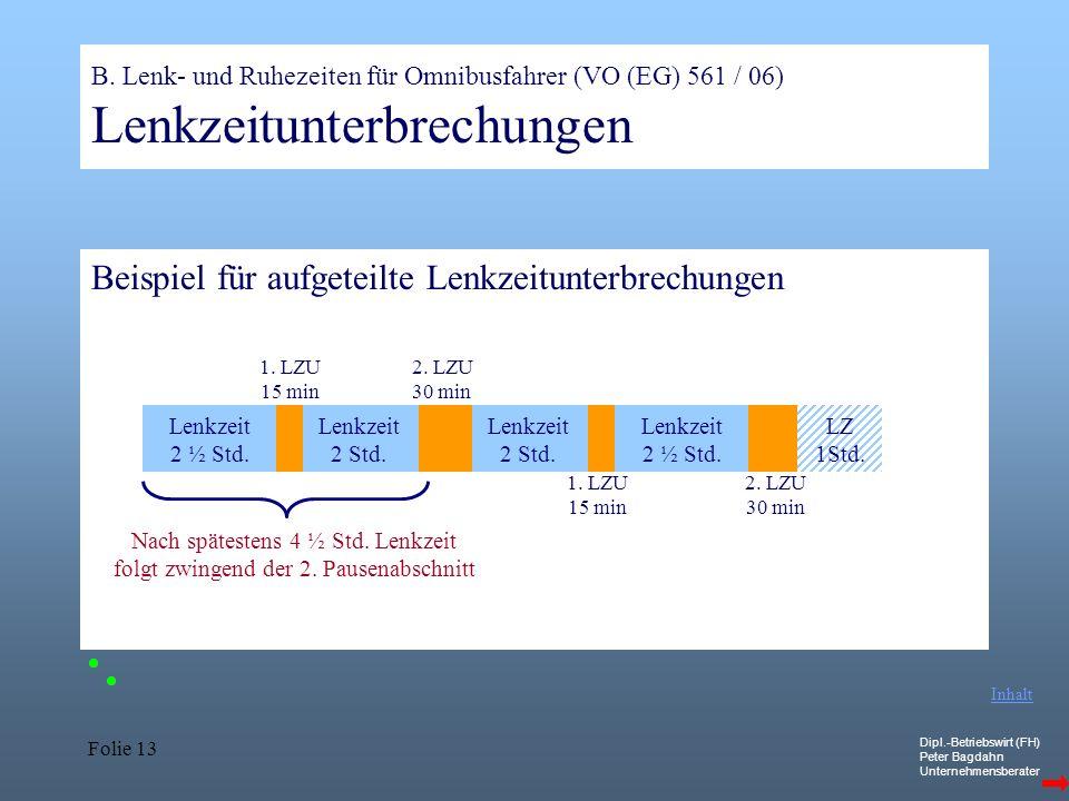 Dipl.-Betriebswirt (FH) Peter Bagdahn Unternehmensberater Folie 13 B. Lenk- und Ruhezeiten für Omnibusfahrer (VO (EG) 561 / 06) Lenkzeitunterbrechunge