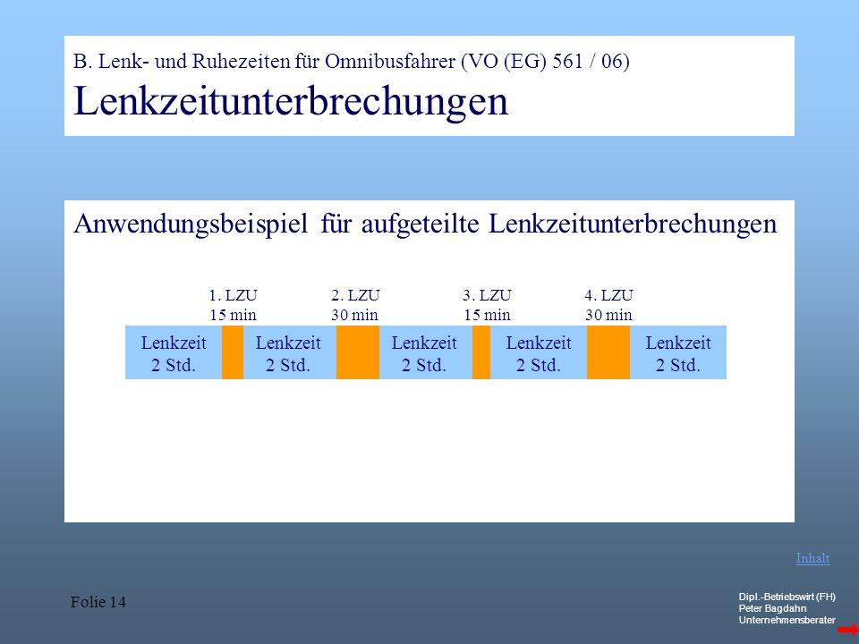 Dipl.-Betriebswirt (FH) Peter Bagdahn Unternehmensberater Folie 14 B. Lenk- und Ruhezeiten für Omnibusfahrer (VO (EG) 561 / 06) Lenkzeitunterbrechunge