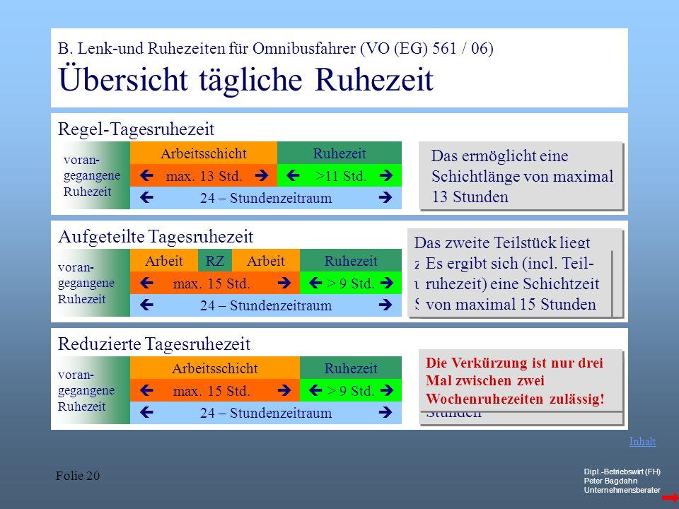 Dipl.-Betriebswirt (FH) Peter Bagdahn Unternehmensberater Folie 20 B. Lenk-und Ruhezeiten für Omnibusfahrer (VO (EG) 561 / 06) Übersicht tägliche Ruhe