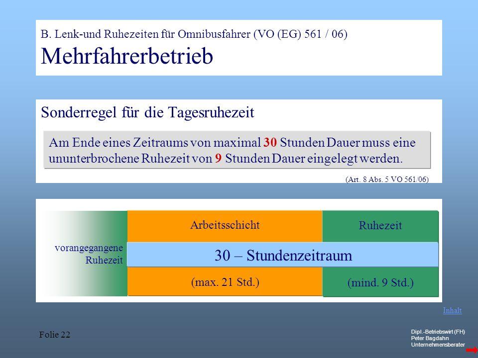 Dipl.-Betriebswirt (FH) Peter Bagdahn Unternehmensberater Folie 22 Arbeitsschicht (max. 21 Std.) Ruhezeit (mind. 9 Std.) B. Lenk-und Ruhezeiten für Om