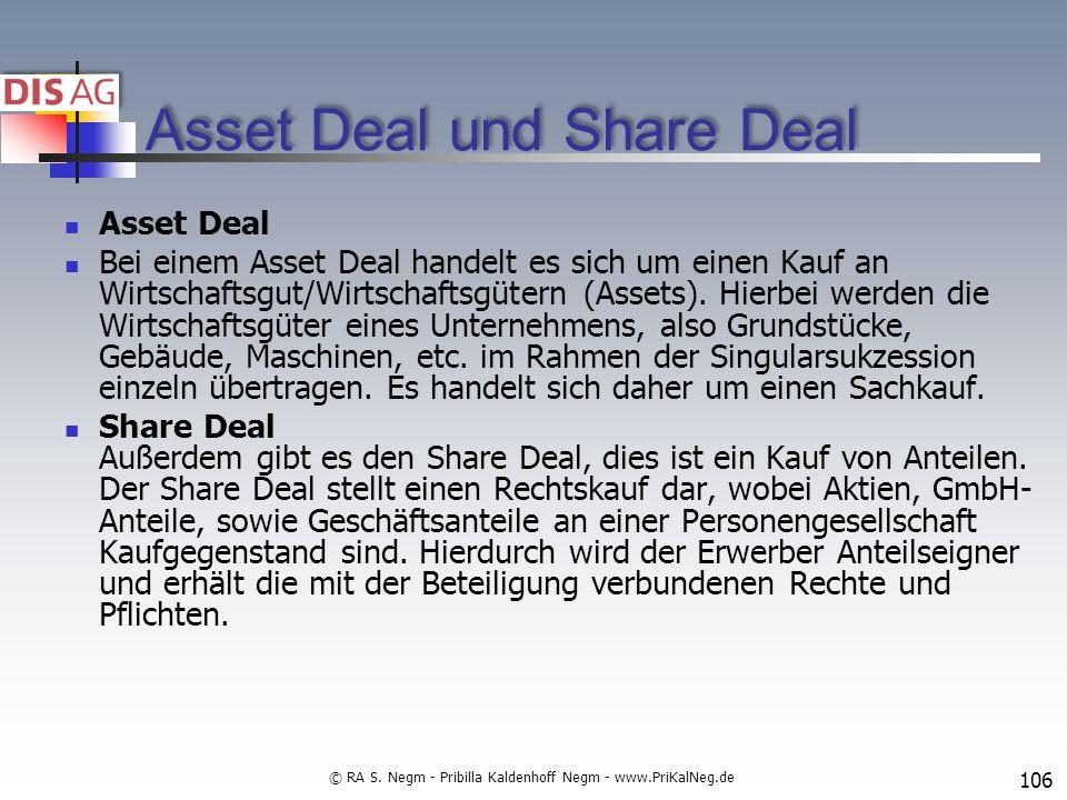 Asset Deal und Share Deal Asset Deal Bei einem Asset Deal handelt es sich um einen Kauf an Wirtschaftsgut/Wirtschaftsgütern (Assets).