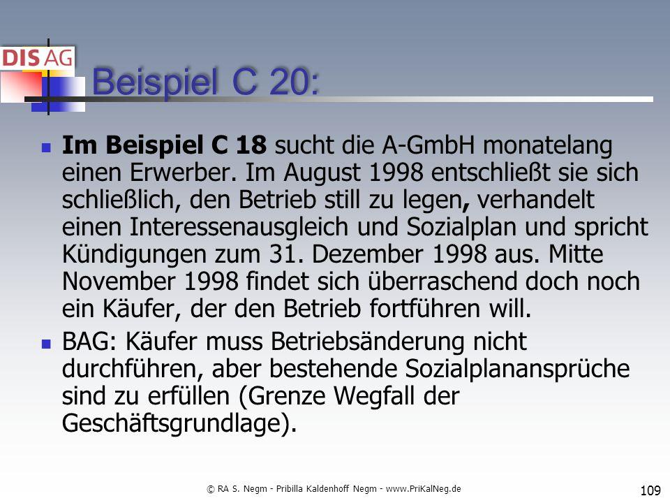 Beispiel C 20: Im Beispiel C 18 sucht die A-GmbH monatelang einen Erwerber.