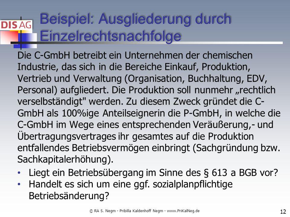 Beispiel: Ausgliederung durch Einzelrechtsnachfolge Die C-GmbH betreibt ein Unternehmen der chemischen Industrie, das sich in die Bereiche Einkauf, Produktion, Vertrieb und Verwaltung (Organisation, Buchhaltung, EDV, Personal) aufgliedert.