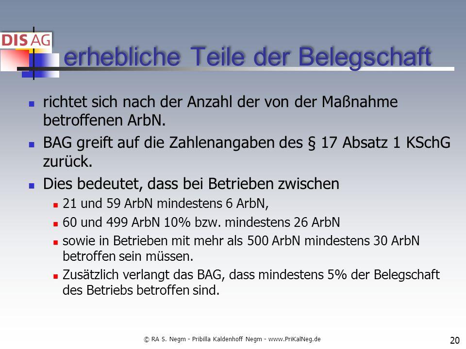 erhebliche Teile der Belegschaft richtet sich nach der Anzahl der von der Maßnahme betroffenen ArbN.
