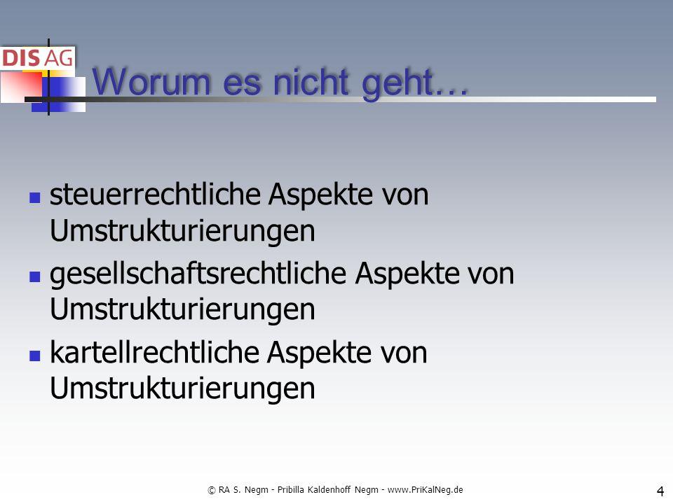 Worum es nicht geht… steuerrechtliche Aspekte von Umstrukturierungen gesellschaftsrechtliche Aspekte von Umstrukturierungen kartellrechtliche Aspekte von Umstrukturierungen 4 © RA S.